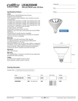 LR3620DHR 20W LED PAR38 Lamp, E26 Base Specifications/Features Lamp