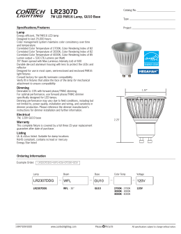 LR2307D 7W LED PAR16 Lamp, GU10 Base Specifications/Features Lamp