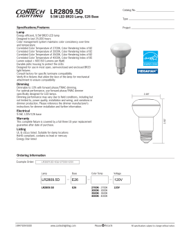 LR2809.5D 9.5W LED BR20 Lamp, E26 Base Specifications/Features Lamp