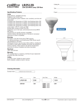 LR2512D 12W LED BR30 Lamp, E26 Base Specifications/Features Lamp