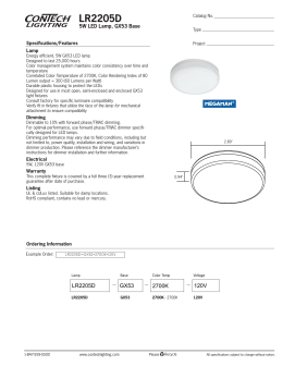 LR2205D 5W LED Lamp, GX53 Base Specifications/Features Lamp