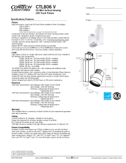 CTL806 V O2 Mini Vertical Housing LED Track Fixture Specifications/Features