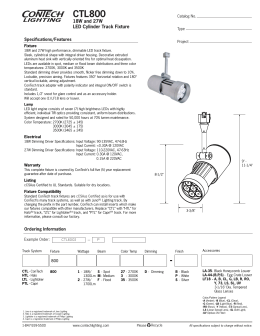 CTL800 18W and 27W LED Cylinder Track Fixture Specifications/Features