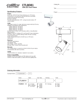 CTL8081 10W LED Track Fixture Specifications/Features