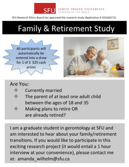 Family & Retirement Study    Are You: