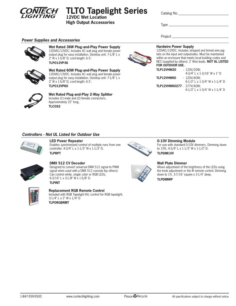Tapelight 12vdc Tlto Location Wet High Accessories Series Output uTKc5lJ3F1