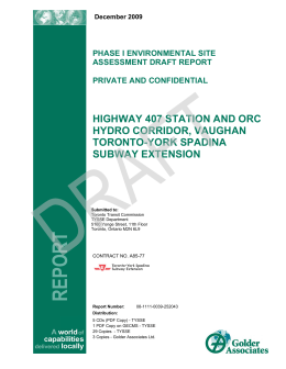 REPORT HIGHWAY 407 STATION AND ORC HYDRO CORRIDOR, VAUGHAN TORONTO-YORK SPADINA