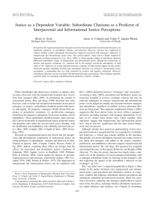Justice as a Dependent Variable: Subordinate Charisma as a Predictor... Interpersonal and Informational Justice Perceptions