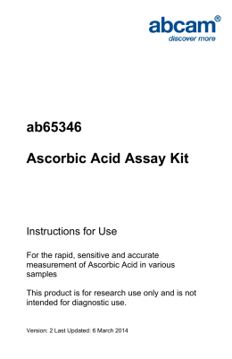 ab65346 Ascorbic Acid Assay Kit Instructions for Use