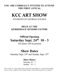 KCC ART SHOW Saturday Sept. 24 10 - 3 Show Dates