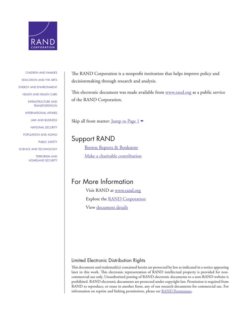 The RAND Corporation is a nonprofit institution that helps improve...  decisionmaking through research and analysis.