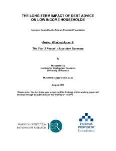 THE LONG-TERM IMPACT OF DEBT ADVICE ON LOW INCOME HOUSEHOLDS