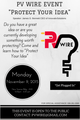 "PV WIRE EVENT ""Protect Your Idea"""