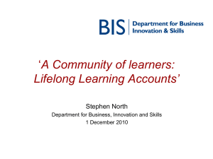 A Community of learners: Lifelong Learning Accounts' Stephen North
