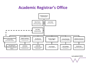 Academic Registrar's Office Dr Michael Glover Alison Thomas Louise Hasler