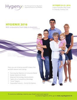 HYGIENIX 2016 »»»»»» » With innovations from baby to boomers.