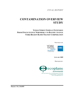 CONTAMINATION OVERVIEW STUDY FINAL REPORT Y
