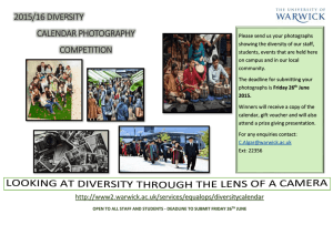 2015/16 DIVERSITY CALENDAR PHOTOGRAPHY COMPETITION