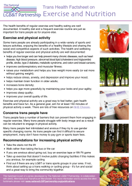 Exercise and Nutrition LGB&T Partnership Trans Health Factsheet on