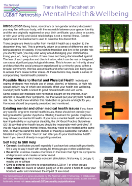 Mental Health & Wellbeing LGB&T Partnership Trans Health Factsheet on Introduction