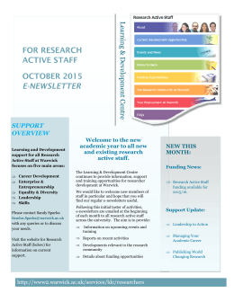 FOR RESEARCH ACTIVE STAFF OCTOBER 2015 E-NEWSLETTER
