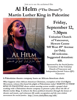 Al Helm Martin Luther King in Palestine Friday, September 12,