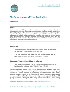 The Technologies of Total Domination Maria Los