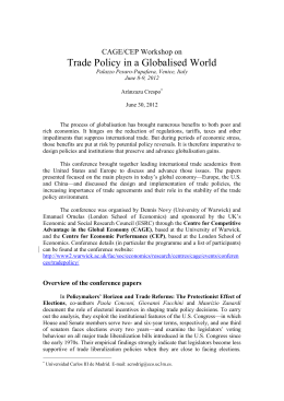 Trade Policy in a Globalised World CAGE/CEP Workshop on