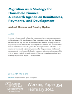 Migration as a Strategy for Household Finance: A Research Agenda on Remittances,