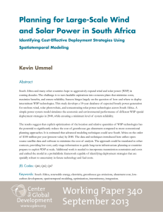 Planning for Large-Scale Wind and Solar Power in South Africa Kevin Ummel