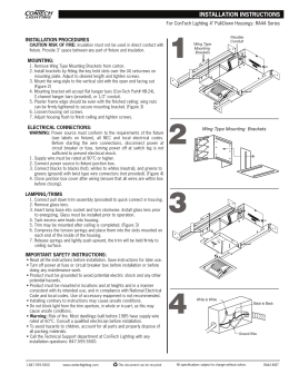 "INSTALLATION PROCEDURES MOUNTING: For ConTech Lighting 4"" Pull-Down Housings: RA44 Series"