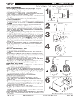 "For ConTech Lighting 4"" LED StopAire Recessed Downlights: RA4LSA INSTALLATION PROCEDURES"
