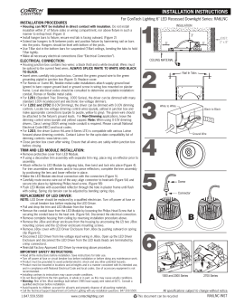 "For ConTech Lighting 6"" LED Recessed Downlight Series: RA6LNC INSTALLATION PROCEDURES"