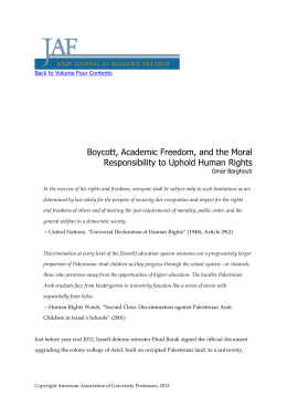 Boycott, Academic Freedom, and the Moral Responsibility to Uphold Human Rights