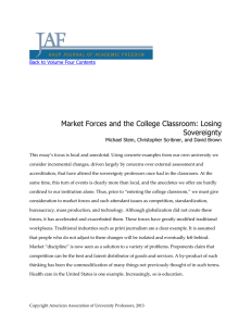 Market Forces and the College Classroom: Losing Sovereignty