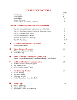 TABLE OF CONTENTS Forward – China Geographic and General Overview
