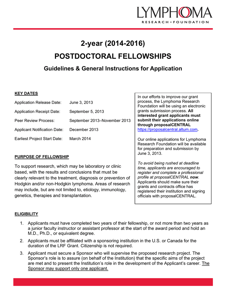 2-year (2014-2016) POSTDOCTORAL FELLOWSHIPS Guidelines