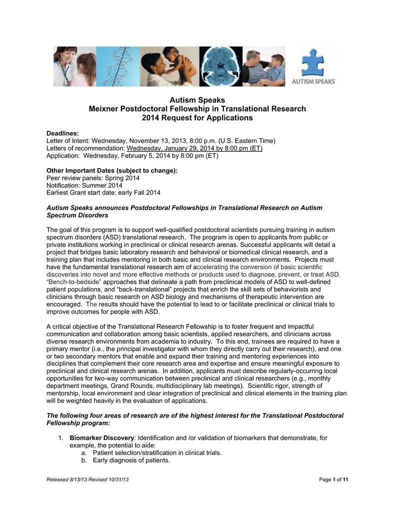 Autism Speaks Meixner Postdoctoral Fellowship in
