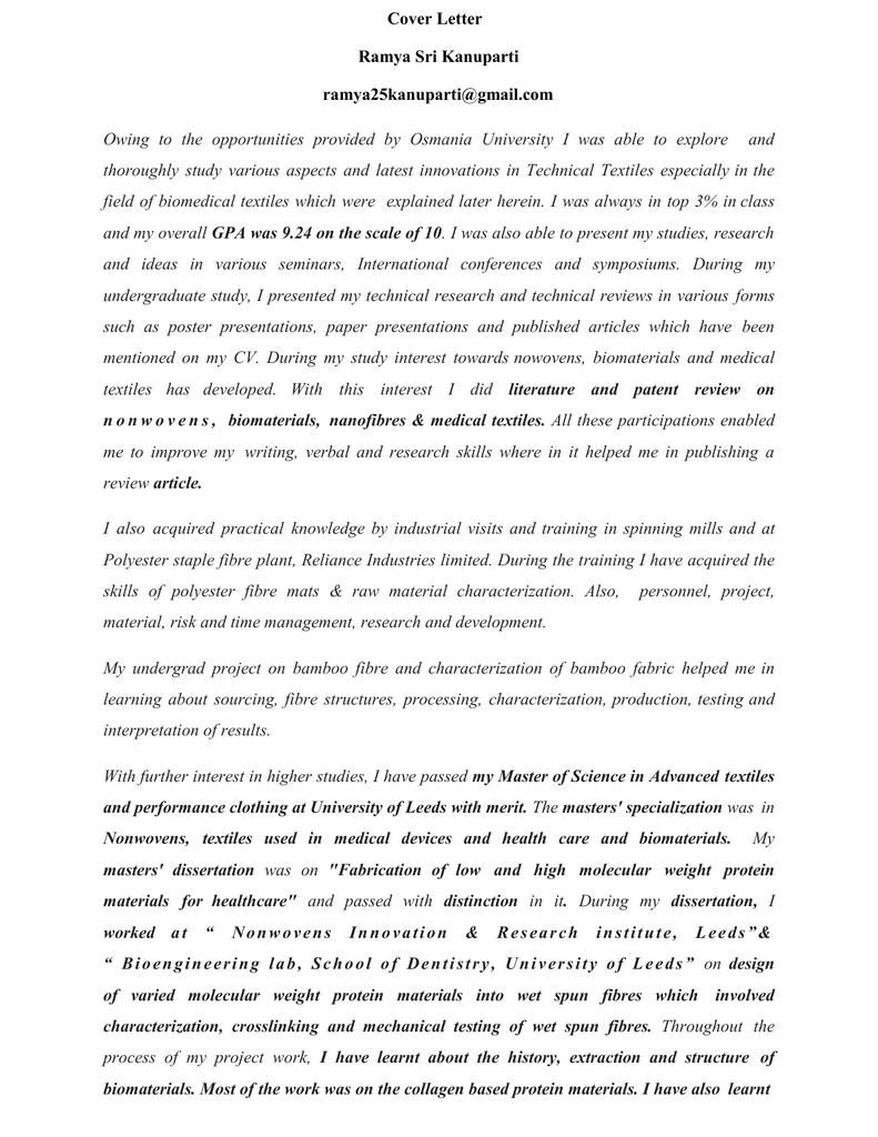 Cover Letter Ramya Sri Kanuparti