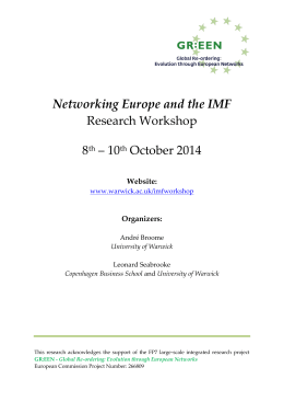 Networking Europe and the IMF Research Workshop 8 – 10