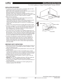 INSTALLATION PROCEDURES For ConTech Lighting Low Voltage IC Rated/StopAire Housing: LVR316-IC