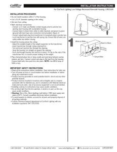 Installation Instructions for Hard-wired Transformer ... on