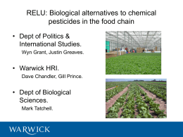 RELU: Biological alternatives to chemical pesticides in the food chain International Studies.