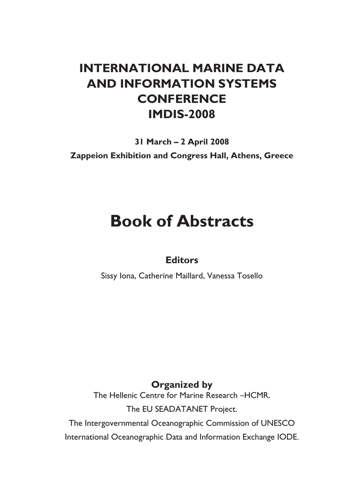 Book Of Abstracts International Marine Data And Information Systems