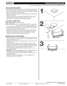 INSTALLATION PROCEDURES For Con-Tech Lighting sirius PLUTON LED Accent Fixture: SR2004, SR2005