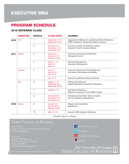 EXECUTIVE MBA PROGRAM SCHEDULE 2016 ENTERING CLASS