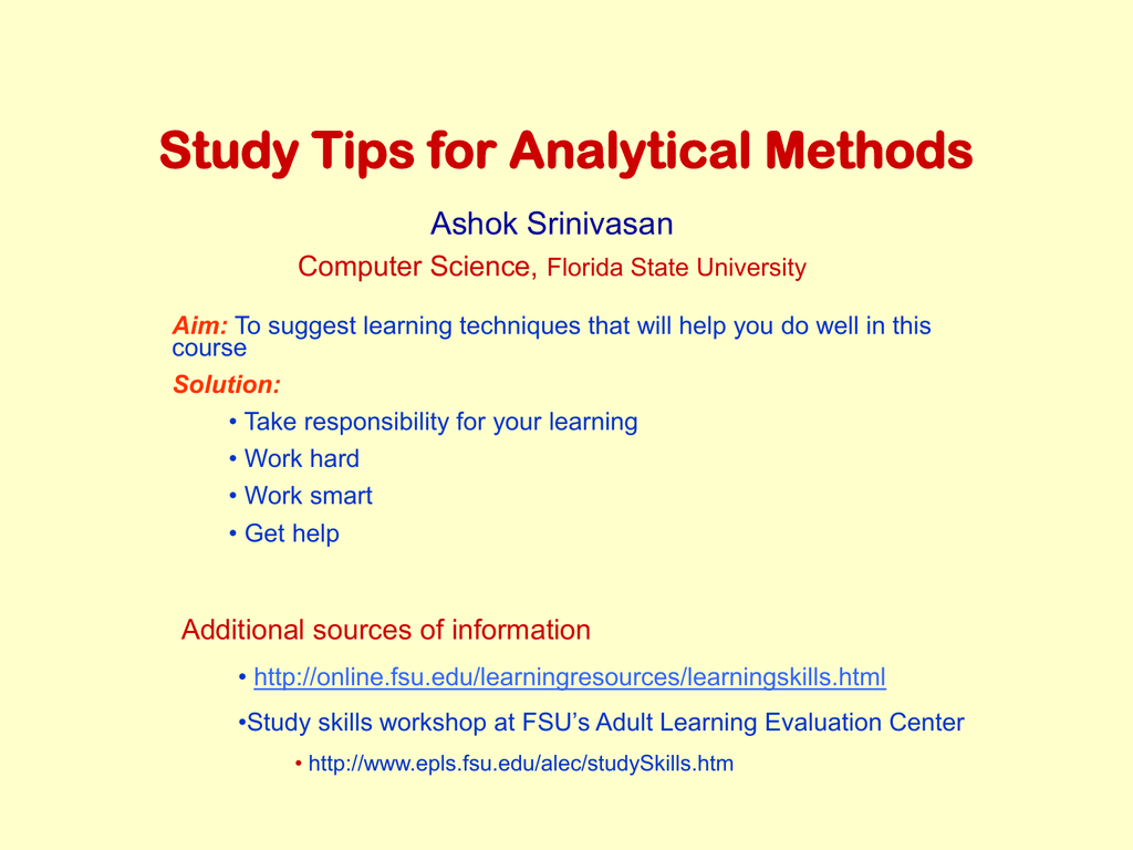 Analytical Learning study tips for analytical methods ashok srinivasan computer