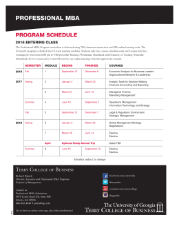 PROFESSIONAL MBA PROGRAM SCHEDULE 2016 ENTERING CLASS