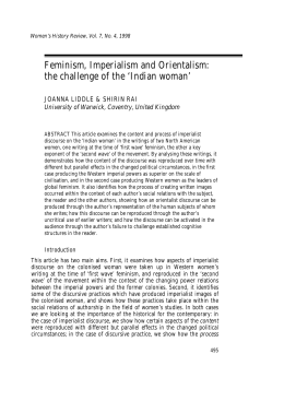 Feminism, Imperialism and Orientalism: the challenge of the 'Indian woman'