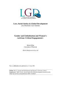 Law, Social Justice & Global Development Gender and Globalisation and Women's
